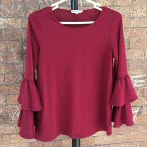 Pleione ruffle sleeve blouse